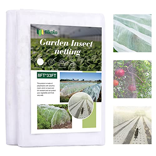 Tikola Fine Mesh Garden Netting, 8'x33' Bird Netting for Garden Plant Netting for Bugs, Garden Covers for Vegetables Plants Fruits Flowers