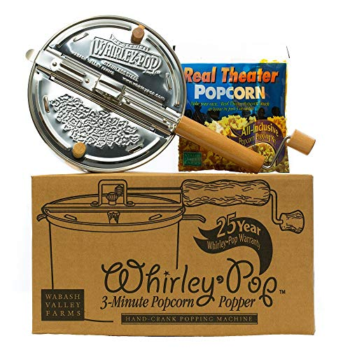 Whirley-Pop Popcorn Popper Kit - Metal Gear - Stainless Steel - 1 Real Theater All Inclusive Popping Kit