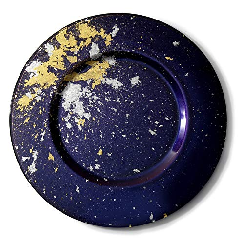 Syosaku Japanese Urushi Glass Charger Plate Φ13.9-inch Majestic Blue with Gold Leaf, Dishwasher Safe