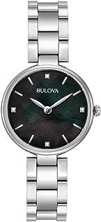 Bulova - Diamond 96S173 - Reloj de Pulsera de Diseño para Mujer - Acero Inoxidable - Esfera Negra de Nácar
