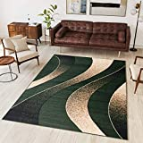 Tapiso Alfombra De Salón Moderna – Color Verde Oscuro Diseño Ondas – Varias Dimensiones S-XXXL 120 x 170 cm