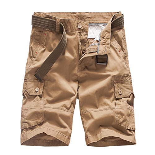 Check Out This Men's Casual Cotton Twill Loose Multi-Pocket Casual Cargo Outdoor Work Shorts with Be...