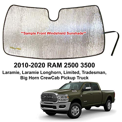 YelloPro Custom Fit Automotive Reflective Front Windshield Sunshade for 2010 2011 2012 2013 2014 2015 2016 2017 2018 2019 2020 Dodge RAM 2500 3500 Laramie Longhorn Limited Tradesman Big Horn CrewCab