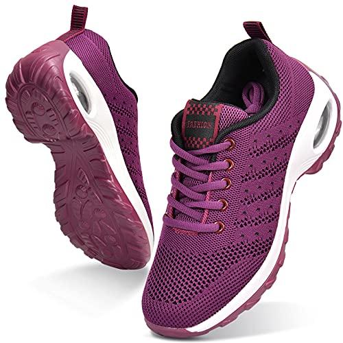 JIANKE Damen Laufschuhe Luftkissen Turnschuhe Leichte Atmungsaktiv Sportschuhe Freizeitschuhe für Gym Fitness Jogging Sommer Frühling Lila Rot, 39 EU