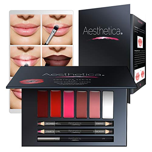 Aesthetica Matte Lip Contour Kit - Lipstick Palette Set Includes 6 Lip Colors, 4 Lip Liners, Lip Brush and Instructions