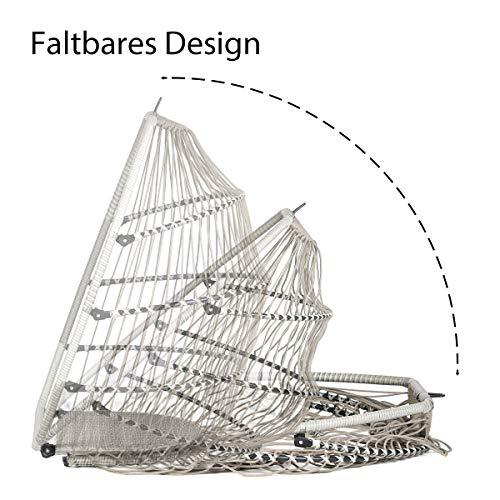 Sekey Polyrattan Hängesessel mit Gestell, Garten Hängestuhl inkl. Sitzkissen und Rückenkissen für Balkon, Grau XXL - 2
