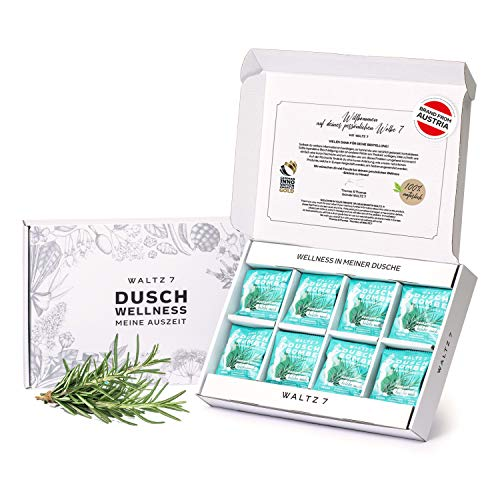WALTZ7 Rosmarin Minze Duschbomben Set, mit natürlichen, ätherischen Ölen für das tägliche Wohlbefinden, vegane Aromatherapie, Badeset mit beruhigendem Duft, fördert Entspannung, 16 Tabs