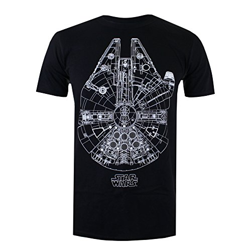 Star Wars Millenium Lines Camiseta, Negro, XXL para Hombre