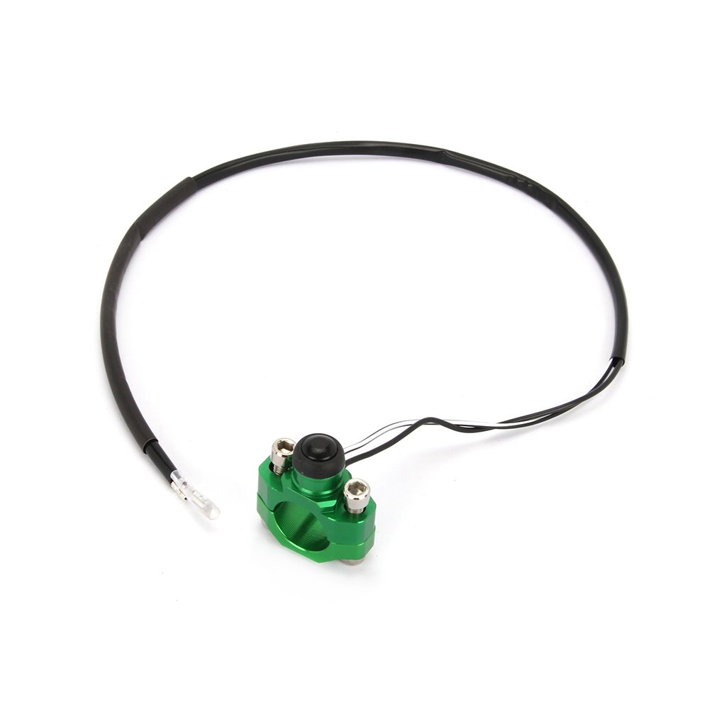Green Universal Billet Engine Kill Start Stop Switch Button With Mounting Backplate For Kawasaki KLX450 KLX250 KLX110 KX250F KX450F KX125 KX250 Motorcycle Motorbike Dirt Bike