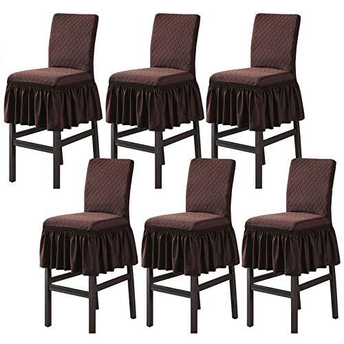 JHLD Jacquard Barhocker Stuhlhussen, Stretch Bar Stuhlhussen Stuhlhussen Weiche Mit Rock (Stühle Nicht Enthalten) Für Höhe Barhocker Cafe-Tiefer Kaffee-Satz von 6