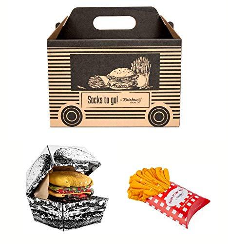 Rainbow Socks - Damen Herren Lustige Socks To Go Box Geschenk- 4 Paar - Pommes Frites Burger - Größen 41-46