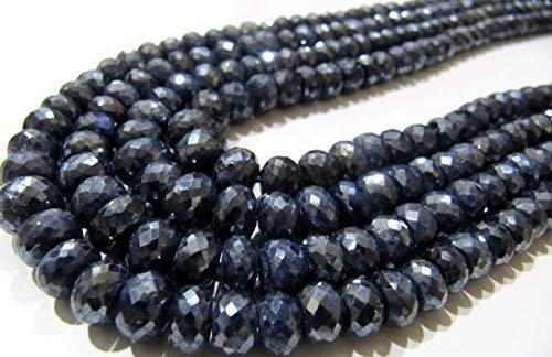 Shree_Narayani Natural azul zafiro Silverita Rondelle facetado 6 a 9mm tamaño graduado piedras preciosas perlas hebra 8 pulgadas de largo precios al por mayor granos de piedra natal 1 hebra