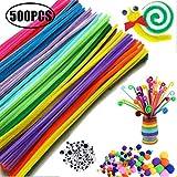 Huemny - Juego de 500 limpiadores de tuberías para manualidades con pompones y ojos para niños y adultos