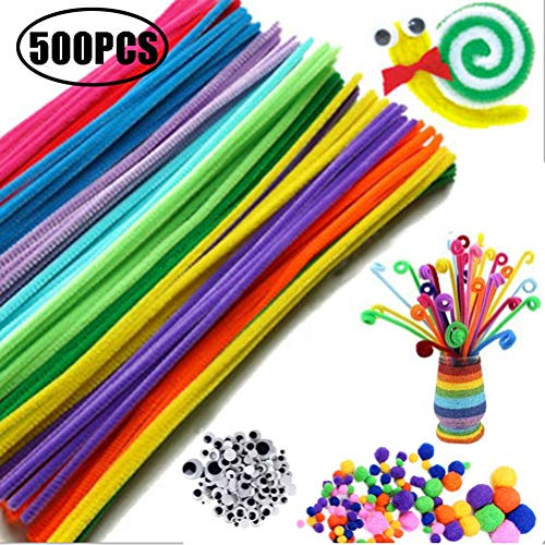 Yissma 500Pcs Pipe Cleaner Craft Set Pipe Cleaner Pom para niños para Hacer y Decorar 6 mm x 300 mm