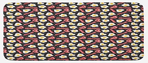 ABAKUHAUS Tocino Tapete para Cocina, La proteína Delicioso Desayuno, con Superficie de Felpa Estampada Dorso Antideslizante, 48 cm x 120 cm, Multicolor