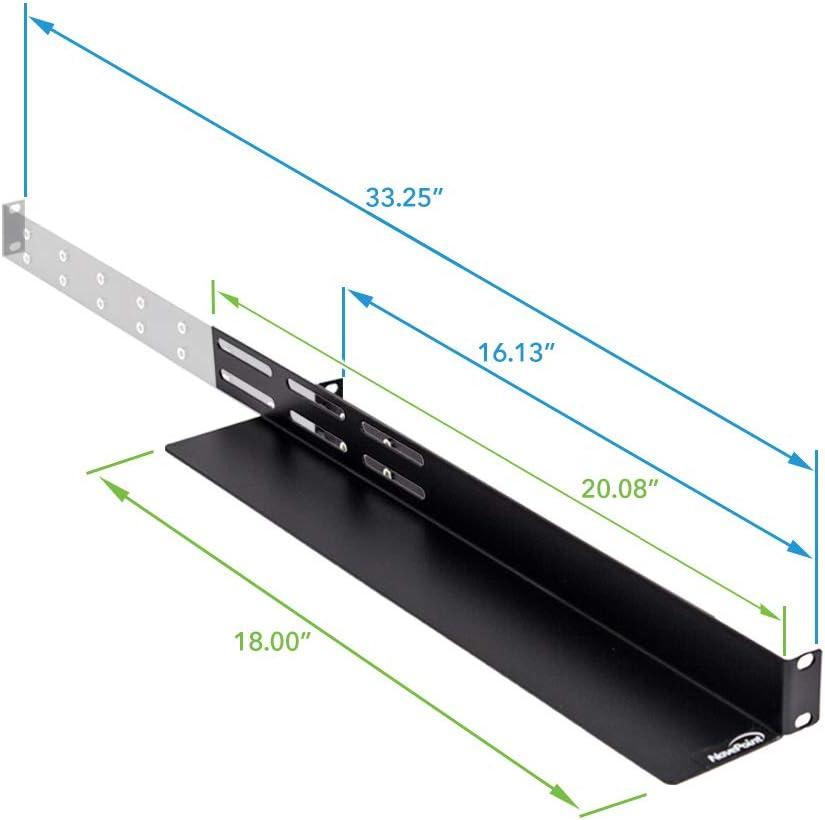 NavePoint Universal 1U Rack Mount 4-Post Shelf Rail for Dell Compaq IBM HP APC - 33.5 Inches deep