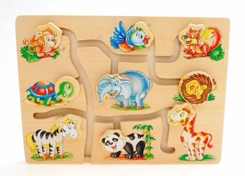 Puzzle Jouet Enfant Ferme Bois Assortir Tête Animal Jouet Éducatif
