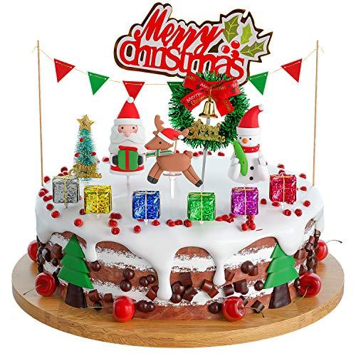 Joyoldelf Cake Toppers Weihnachten Kuchendekoration Spielzeug Fahrzeuge Einhorn Geburtstag Christmas Dekoration Geburtstagsgeschenk für Geburtstag/Hochzeit/Feiertag/andere Party