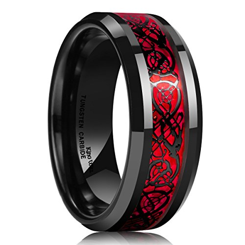 King Will Men's 8mm Red Carbon Fiber Black Celtic Dragon Tungsten Carbide Ring Comfort Fit Wedding Band (9.5)