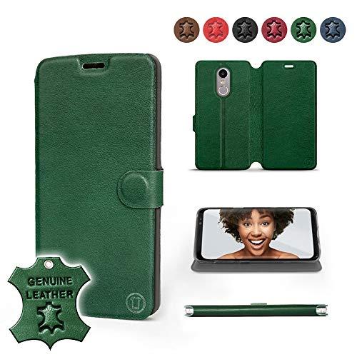 Mobiwear | Echt Lederhülle | Kompatibel mit Lenovo K6 Note, Made in EU handyhülle, Slim Leather Case, Premium Flip Schutzhülle, Transparent TPU Silicon, Book Style, Tasche - Grünes Leder