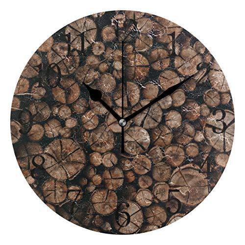 YYYJIA Wanduhr aus gehacktem Holz und Brennholz im Vintage-Stil, 22,9 cm, rund, aus Acryl, kein Ticken, geräuschlose Uhren, Art für Heimdekoration, Wohnzimmer, Küche, Schlafzimmer, Büro, Schule