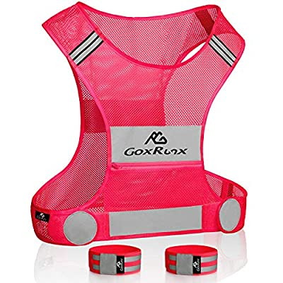 Reflective Vest Running Gear, Lightweight Motorcycle Cycling Reflective Vests with Large Pocket & Adjustable Waist for Women Men Running Safety Vest with Reflective Bands (Pink, Large)