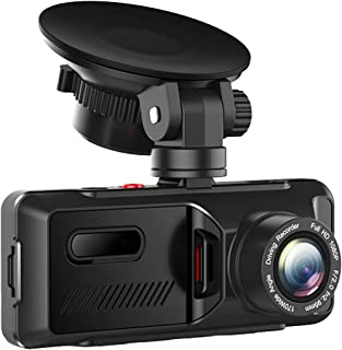 Enregistreur de conduite, double caméra de tableau de bord avant et arrière de 3,16 pouces 1080P pour la détection de mouv...