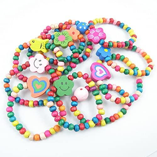 10pcs / lot Natural Wood Kids Elastic Beads Beads Brazalets Child Girl Fiesta de cumpleaños Regalo de joyería (estilo de color al azar)
