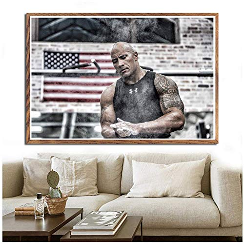 wzgsffs Die Rock Dwayne Johnson Workout Fitness Bodybuilding Poster Wandkunst Bild Leinwand Malerei Home Decor-20X30 Zoll Rahmenlos