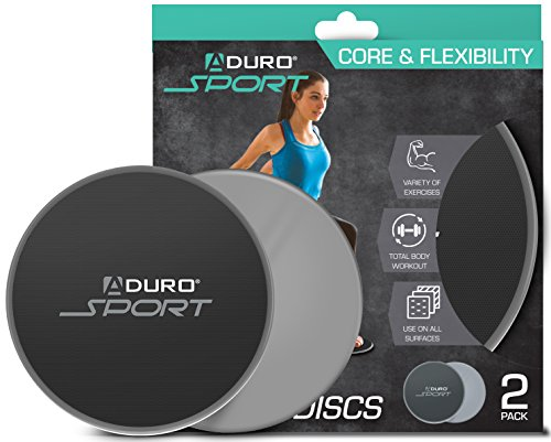 Aduro Sport Exercise Sliders for Fitness Workout [2PK], Double Sided Gilder Strength Slides Discs Work Smoothly on Any Surface for Stretch Strength Core Exercise (Gray)