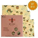 Bee's Trend Lot de 6 Emballages en cire d'abeille, emballages alimentaires...