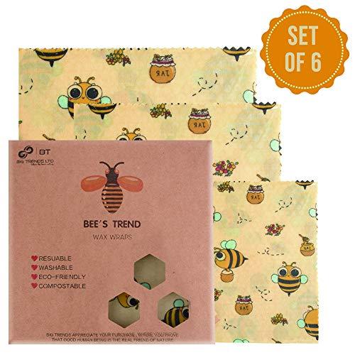 Bee's Trend - Juego de 6 envoltorios de cera de abeja | Almacenamiento natural de alimentos | Envoltorios de queso y sándwich sin residuos | Cubiertas lavables para cuenco Beige (Bees Pattern)