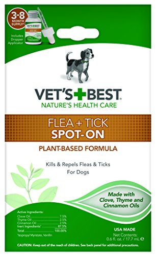 Vet's Best Flea and Tick Spot-on Drops | Topical Flea Treatment Drops for Dogs | Flea Killer with Certified Natural Oils | 3-8 Month Supply for Various Dog Sizes, Multi, 0.6 oz., Model Number: 3165810472