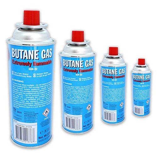 4 x butaangas à 227 g inhoud per fles voor outdooractiviteiten + grillen.