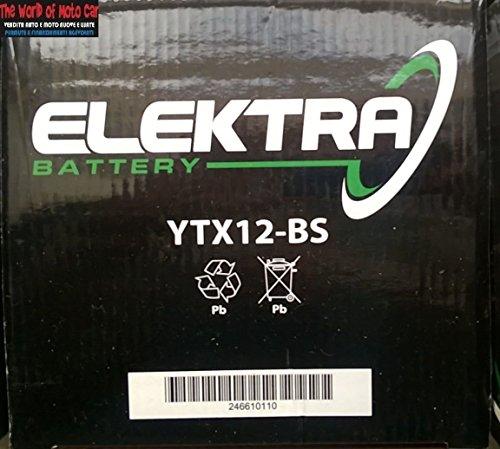 Batería Elektra YTX12-BS para Kymco Xciting I R 3002008-201412V 10Ah con ácido