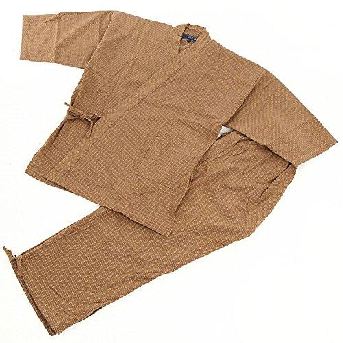 Edoten Samue Arbeitskleidung Herren Japan Kimono Quilt Sashiko (Traditionelle japanische Handstickerei) Arbeitskleidung DIY Jacke Hose Gr. M, braun