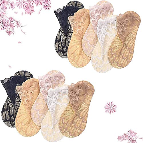 TTCPUYSA 5Pairs Amazing Crystal Peacock Sock, Hollow out Ultra-Thin Lace Women's Boat Socks,Casual Breathable Crystal Silk Feather Pattern Ship Socks (Black)