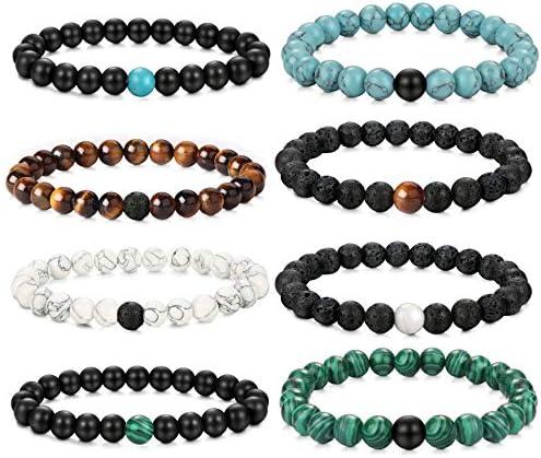 YADOCA 8 PCS 8MM Bead Bracelets for Men Women Natural Stone Long Distance Couple Bracelets Elastic product image