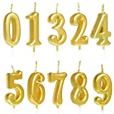 QYPRMX 10 PCS Cake Numeral Candles, Birthday Numeral Candles, Number 0-9 Glitter Cake Topper Decoration for Birthday Favor,Party Celebration