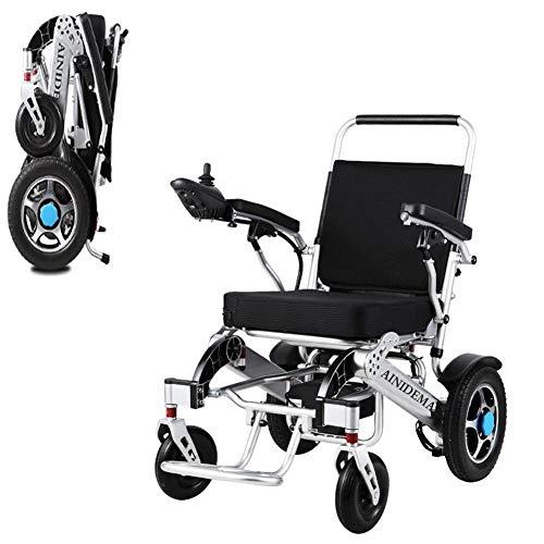 AINIDEMA Ultraleichter Faltbarer Elektrischer Rollstuhl,Linke Und Rechte Austauschbare Steuerung, Für Ältere Und Behinderte Menschen Li-Ionen-Akku Kann in Einem Flugzeug Verwendet Werden,Schwarz