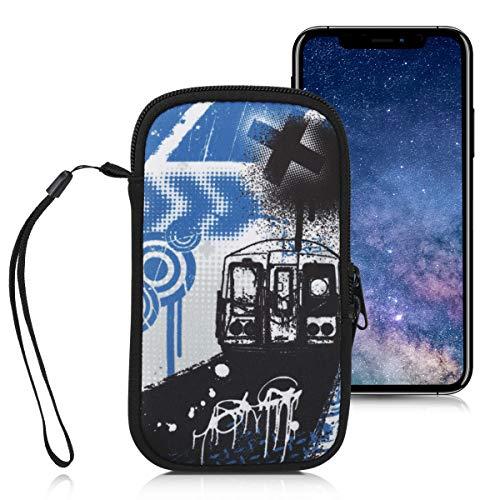 kwmobile Funda Universal para móvil de M - 5,5  - Estuche de Neopreno con Cierre - Carcasa Graffiti y Tren