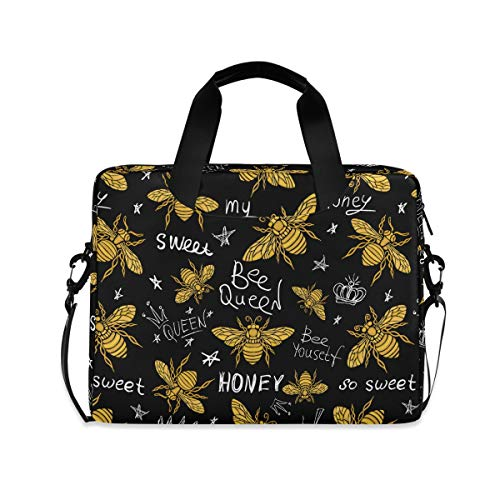 ALAZA Hohey Bee with Queen Crown Laptop Case Bag Sleeve Portable Crossbody Messenger Briefcase w/Strap Handle, 13 14 15.6 inch