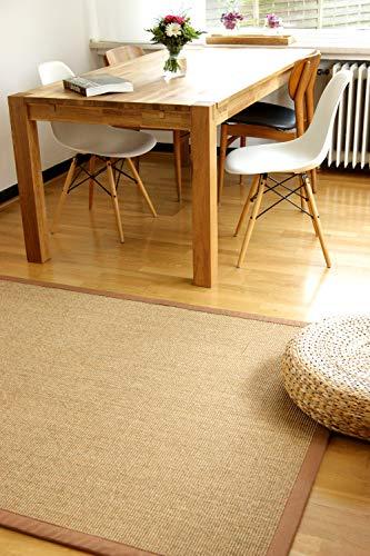 Alfombra Natural de Sisal Mocha marrón 80x150 cm Borde de algodón 100% Fibra Natural