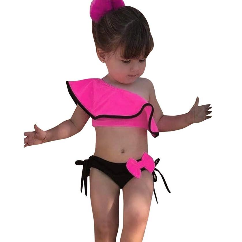 Chinaware Summer Kids Baby Girls Solid Print Ruffles Bow Swimwear Swimsuit Bikini Outfits (Tops + Shorts)