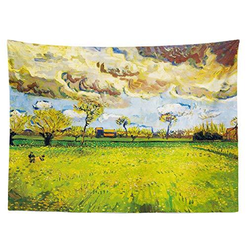 Peinture à lhuile de Jardin Fond Photo de Tissu Grand Chiffon Flanelle Salon Décoration de Chevet Tapisserie Peintures de dortoir, Hope Field Cloud Sea Green Gold (W200Cm * H150Cm)