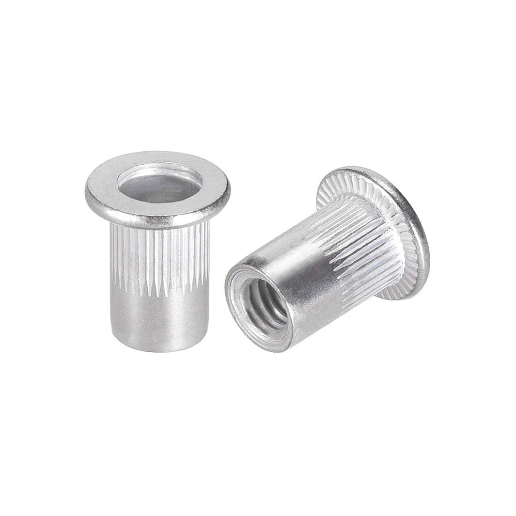 uxcell M6 Aluminum Alloy Rivet Nuts Flat Head Insert Nutsert 100 Pcs