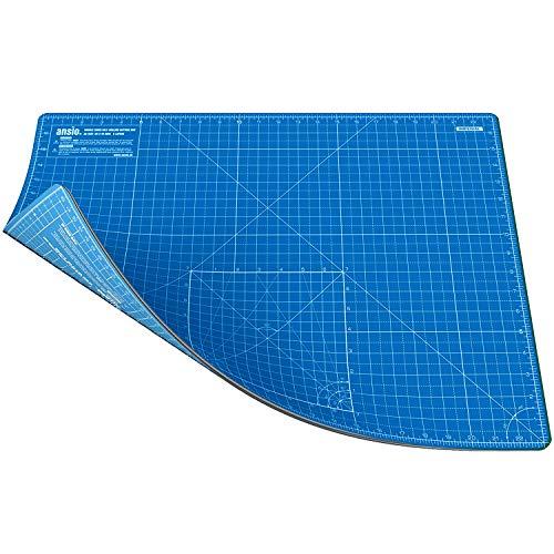 Ansio Schneidematte, A2, doppelseitig, selbstheilend, 5-lagig, metrisch, 45 cm x 60 cm, Blau / Himmelblau