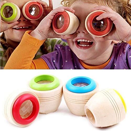 Catkoo Prisma Poligonale in Legno Effetto Caleidoscopio Magico per Bambini Apprendimento Giocattolo Educativo, Formazione Perfetta Regali di Intelligenza per Bambini Colore Casuale