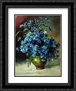 Cornflowers 20x24 Black Ornate Frame and Double Matted Museum Art Print by Isaac Levitan