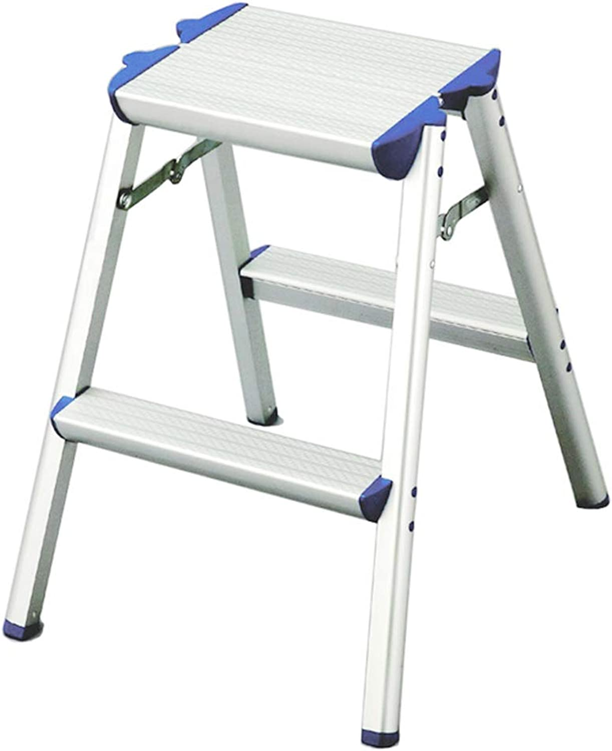 HAIPENG Step Ladder Stool Aluminum Alloy Foldable Non-Slip Dual Use Multi-Function Portable Indoor Outdoor, Silver, 2 Sizes (color   Silver, Size   2 Steps)